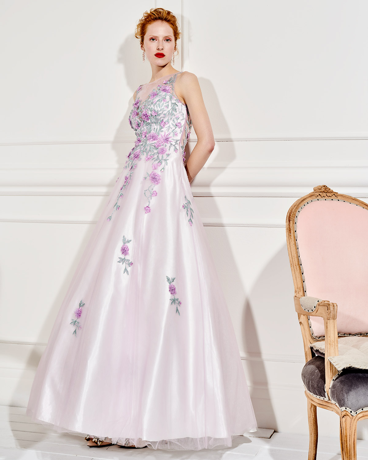 Long evening tulle dress with beading flowers
