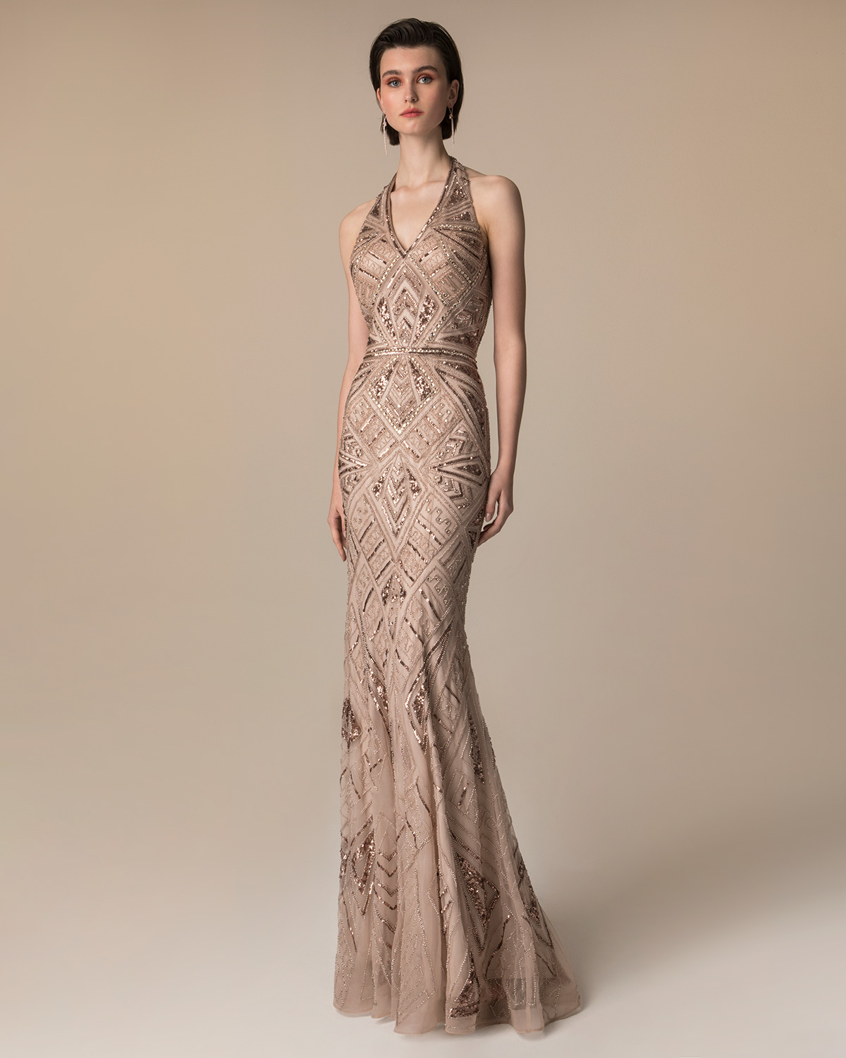 Evening Dresses / Long evening fully beaded dress with open back