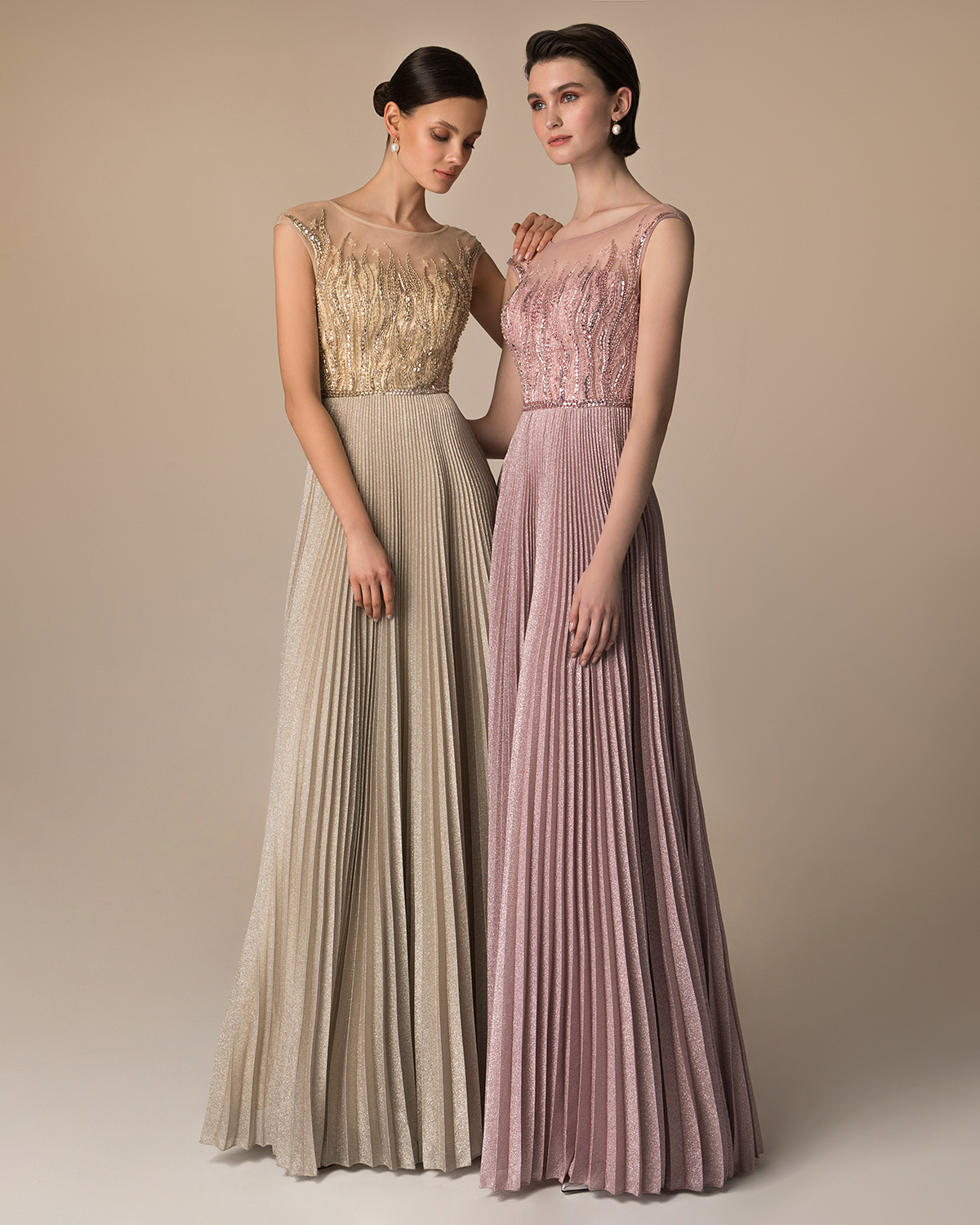 Long evening pleated dress with beaded top