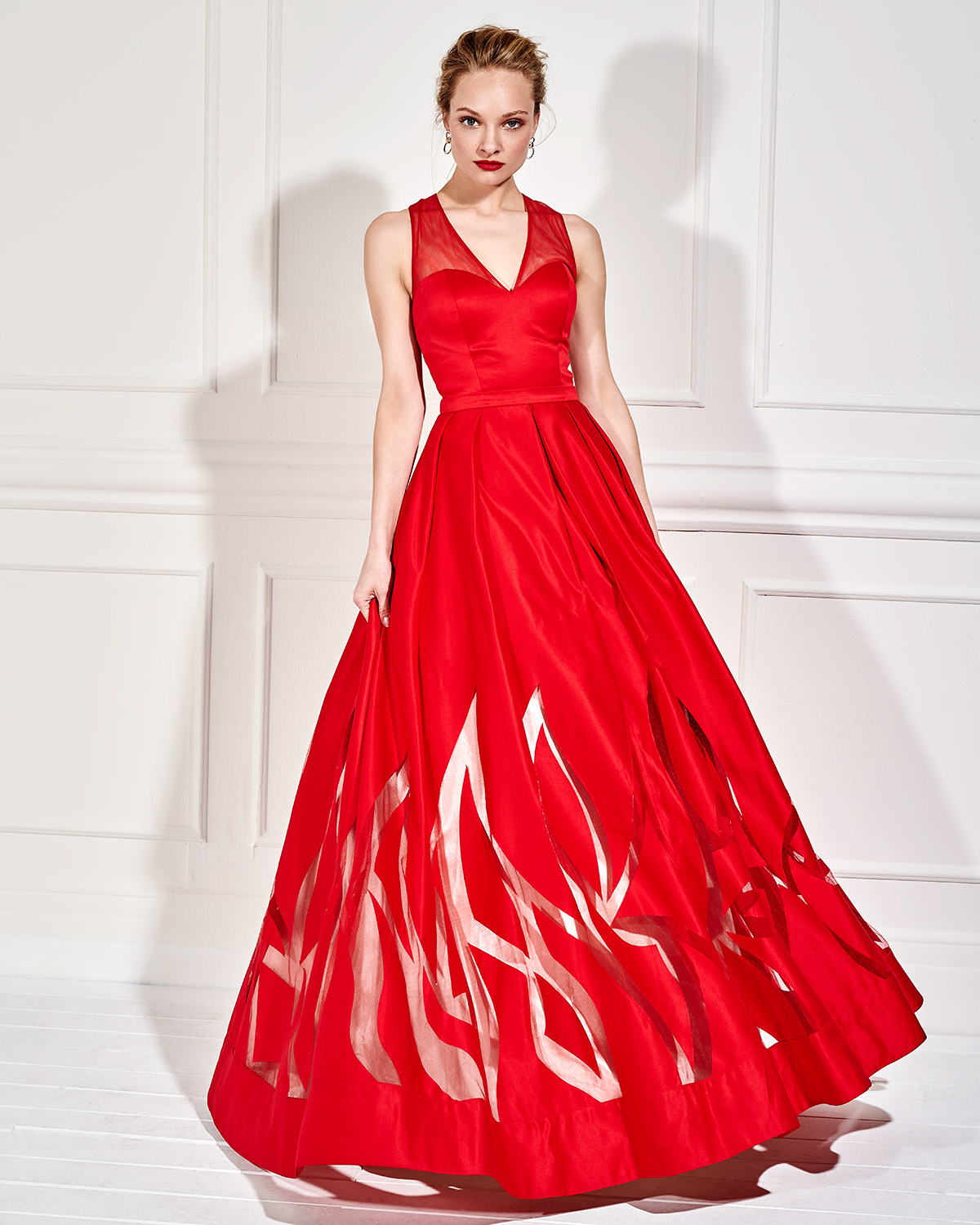 Long evening satin dress with opening in the back
