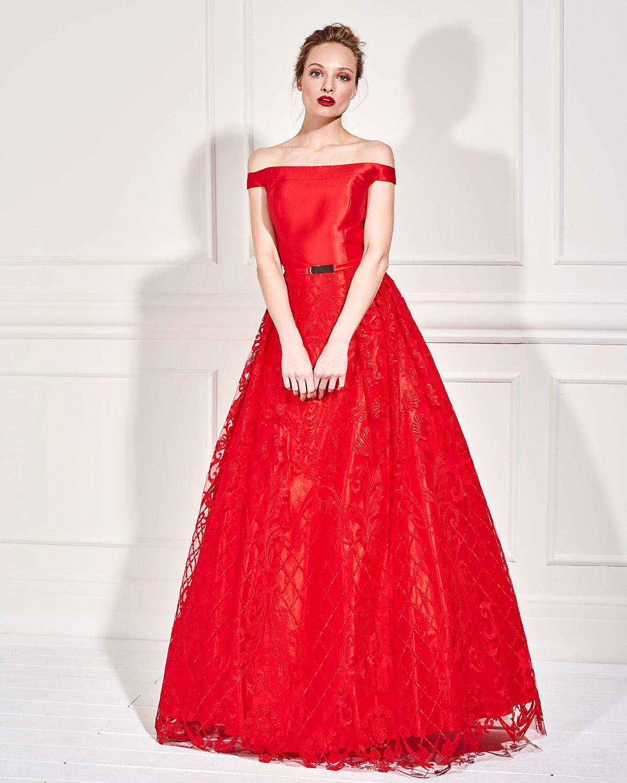 21ee3f6d28c6 Mikael - JACQUELINE - Βραδινό φόρεμα μακρύ με δαντελένια φούστα και ...