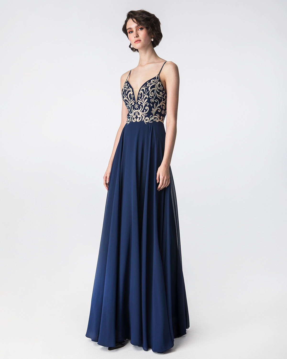 Cocktail Dresses / Long cocktail dress with beaded top and straps