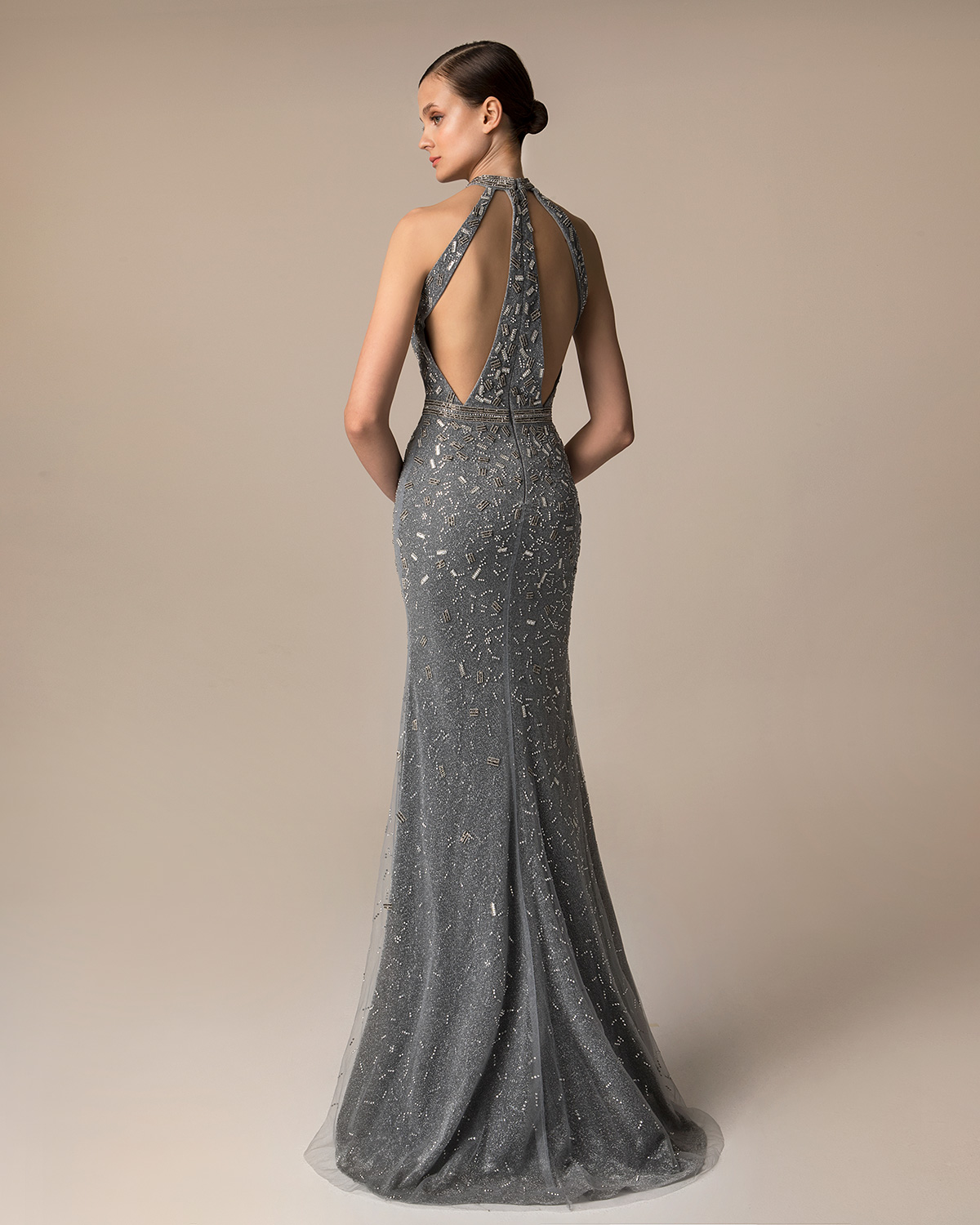 Evening Dresses / Long evening dress with beaded neck and waist