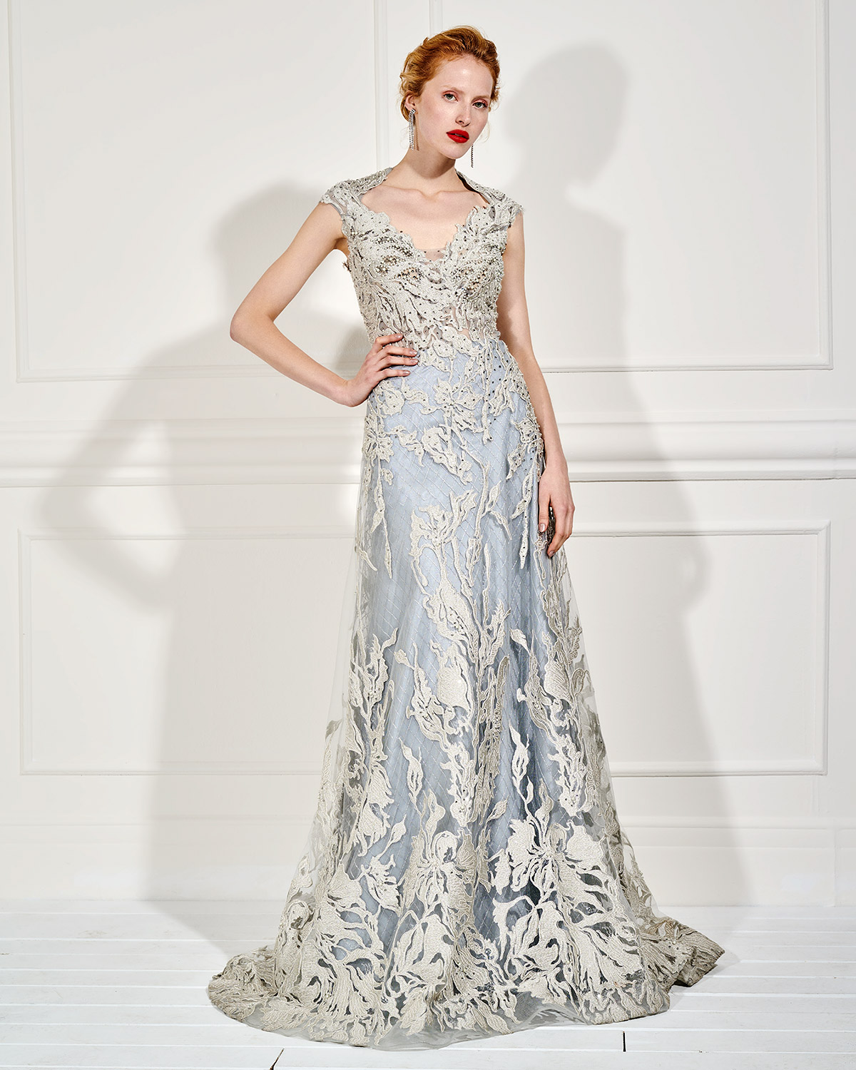 Evening Dresses / Long evening lace beaded dress with transparency on the back