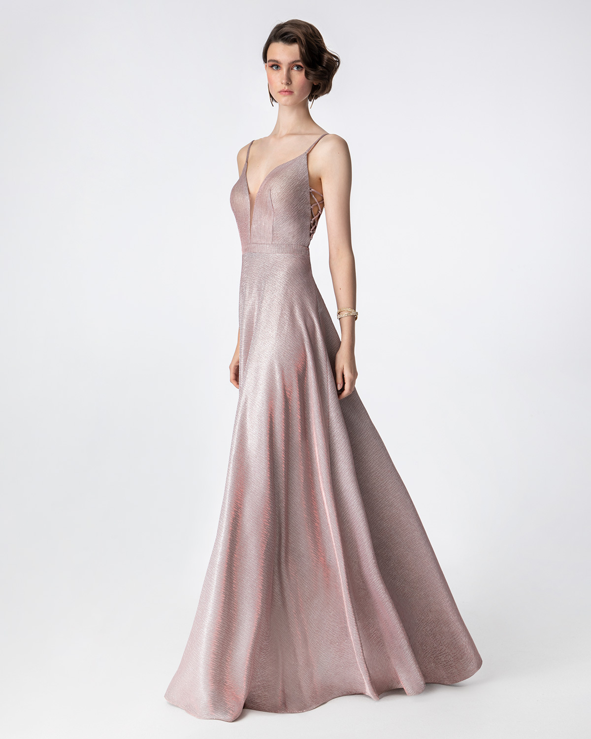 Cocktail Dresses / Long cocktail dress with shining fabric