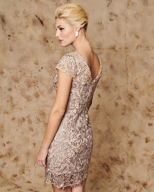 d77dcb94ecd2 ... Κλασικά Φορέματα   Κλασικό κοντό φόρεμα από δαντέλα με κοντά μανίκια  και κέντημα