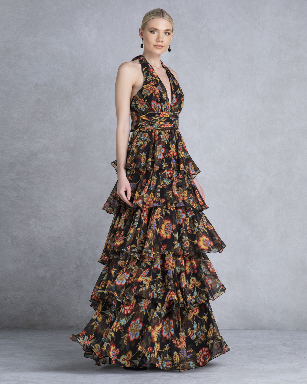 Cocktail Dresses / Long printed dress with ruffles