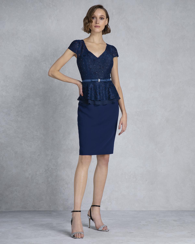 b38df8a345d7 Κλασικά Φορέματα / Κλασικό φόρεμα κοντό με δαντέλα,ζωνάκι και κοντά μανίκια  ...