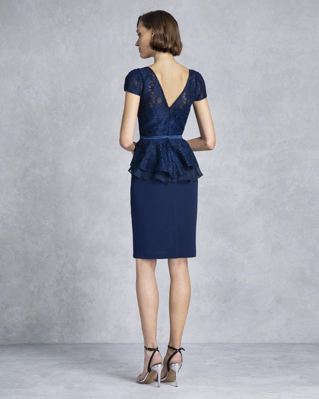 5bff31469c9c ... Κλασικά Φορέματα / Κλασικό φόρεμα κοντό με δαντέλα,ζωνάκι και κοντά  μανίκια