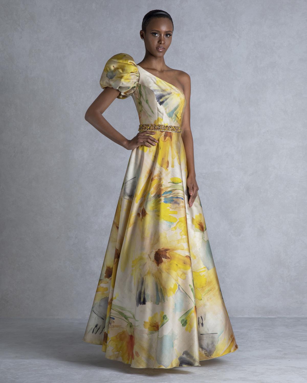 abcf1df32fe Mikael - LAWANDA - Βραδινό φόρεμα μακρύ με έναν ώμο και κέντημα στη μέση