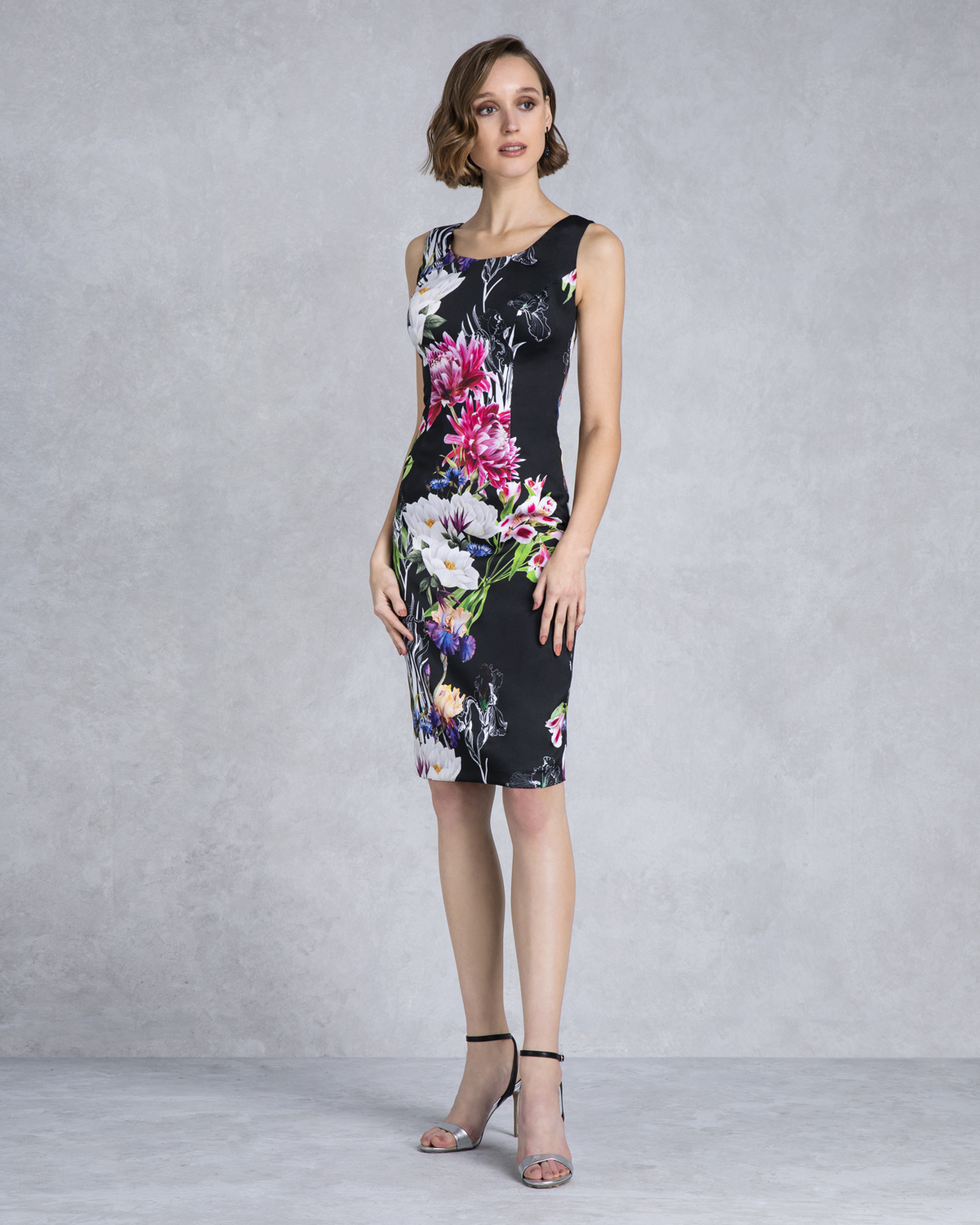 Classic Dresses / Short evening printed dress with lace bolero