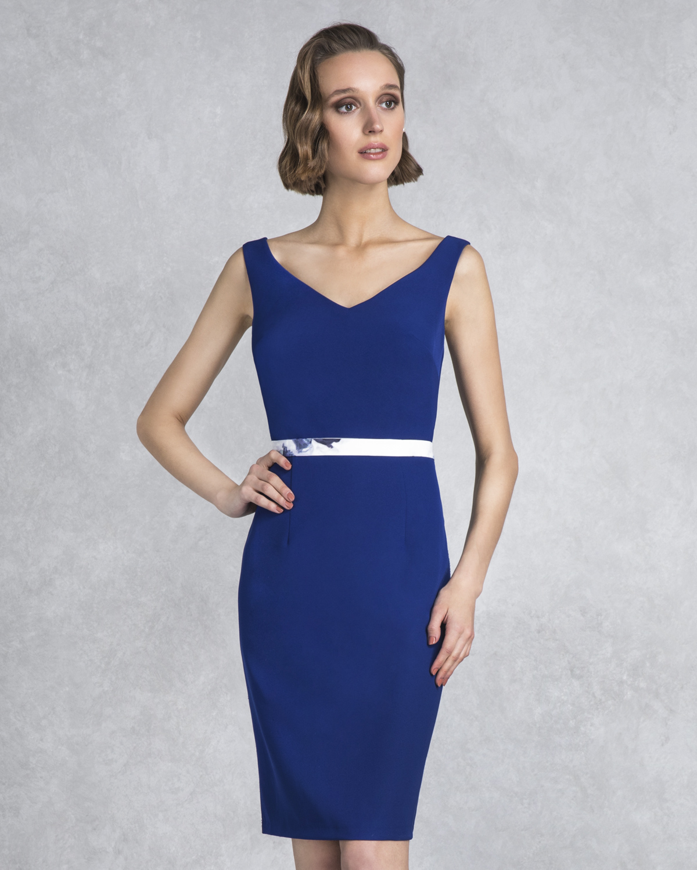 b2fd58eafcd0 Κλασικά Φορέματα   Φόρεμα κοντό μονόχρωμο με εμπριμέ μπολερό ...