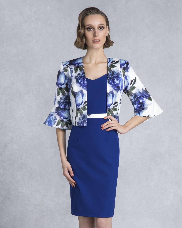 945ae78ff3aa Φόρεμα κοντό μονόχρωμο με εμπριμέ μπολερό Φόρεμα κοντό μονόχρωμο με εμπριμέ  μπολερό
