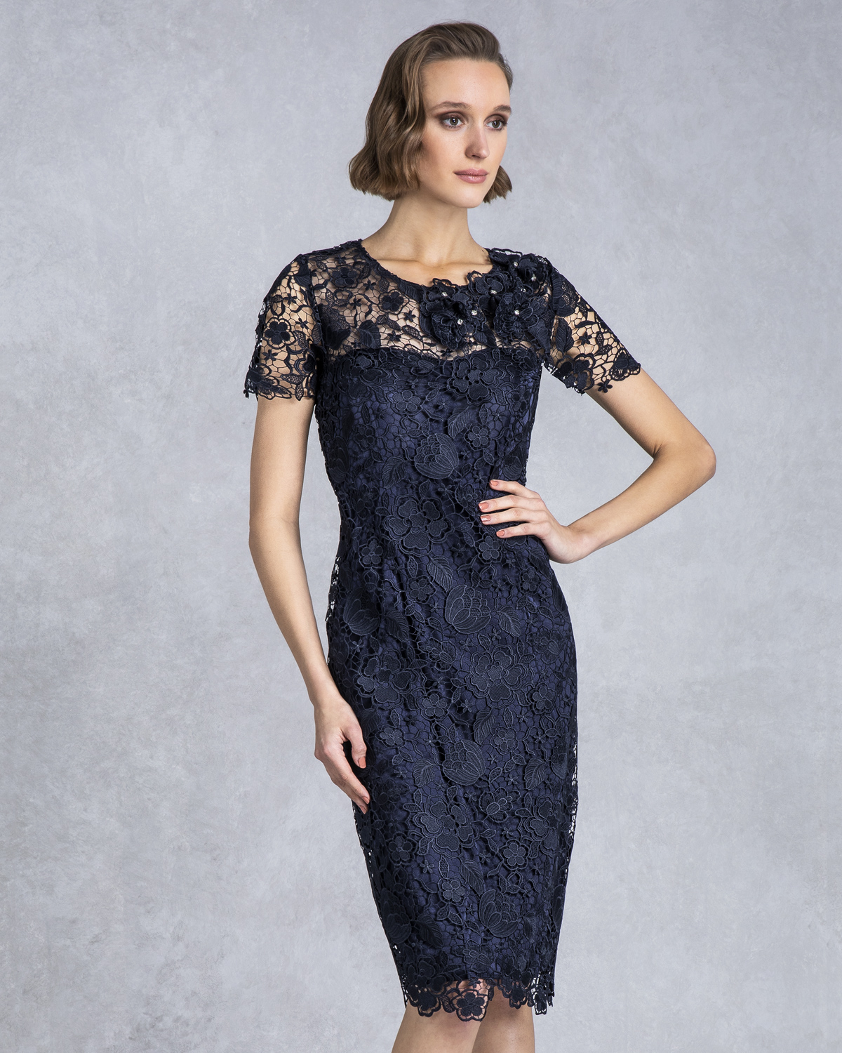 Classic Dresses / Mother of the bride short lace dress with sleeves