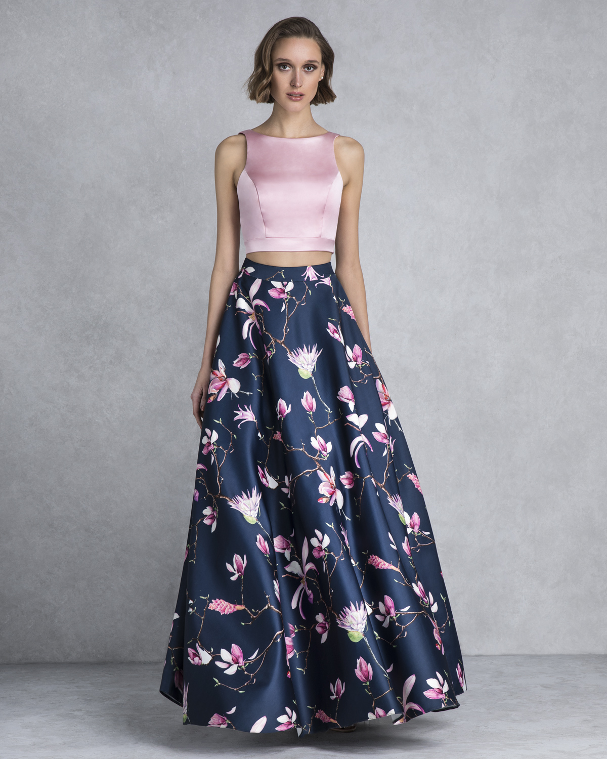 Cocktail Dresses / Long floral skirt with printed or solid color top
