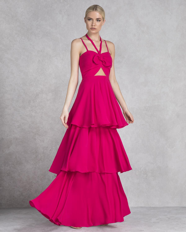 df8138e4da5 Mikael - SHEREE - Φόρεμα μακρύ με βολάν και φιόγκο