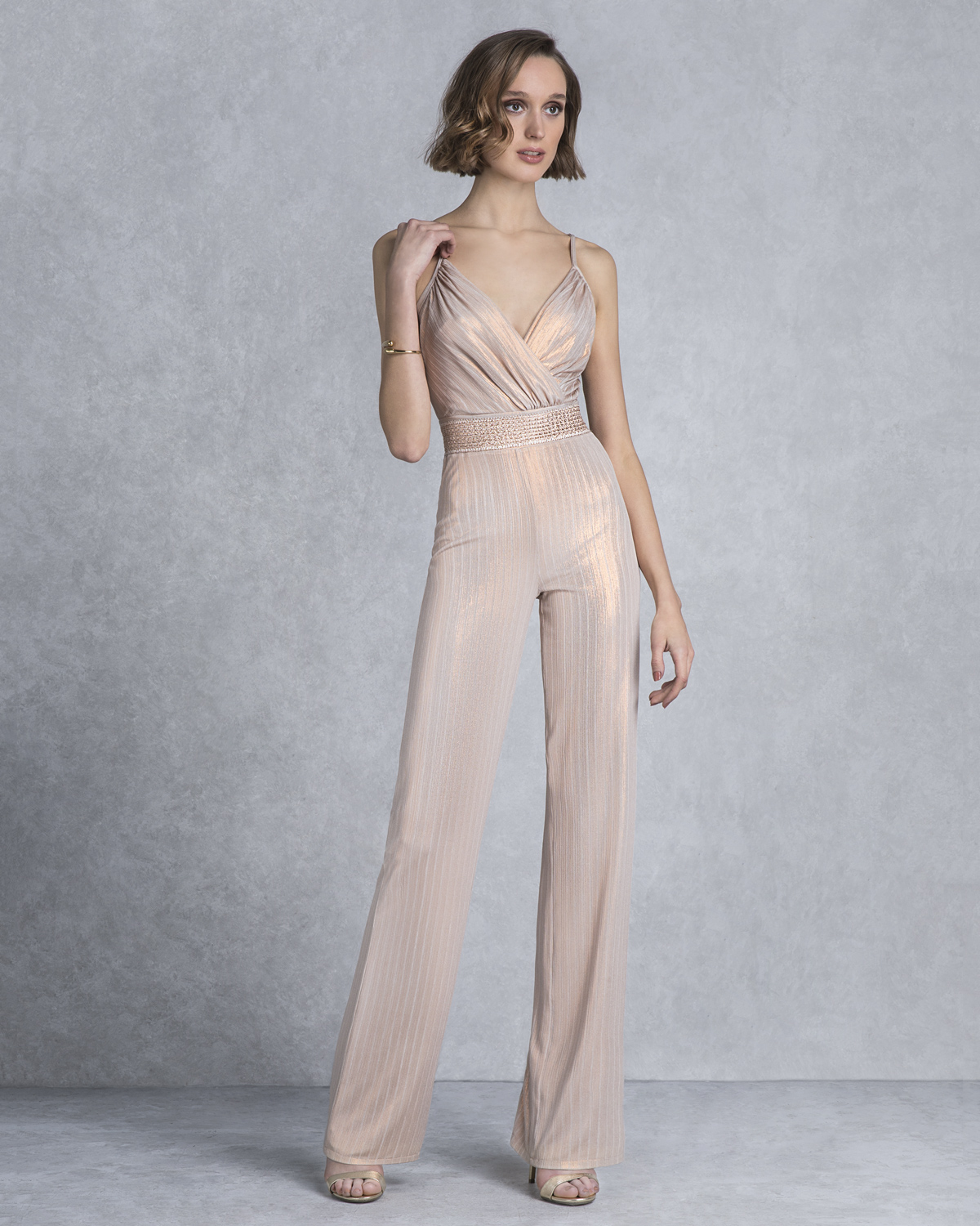 Cocktail Dresses / Cocktail lurex jumpsuit with drape top