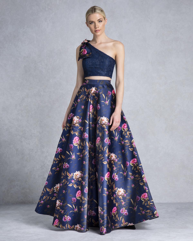 19e7434adffd Κοκτέιλ Φορέματα   Φούστα μακριά εμπριμέ με δαντελένιο τοπ