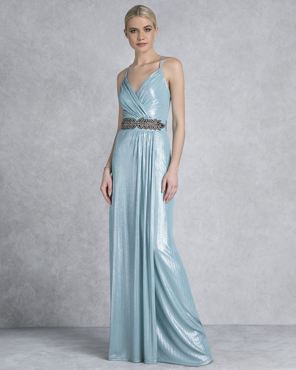 Cocktail Dresses / Long evening lurex dress with drape top