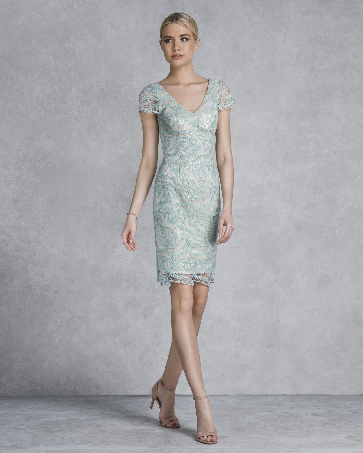 Classic Dresses / Short evening lace dress with sleeves