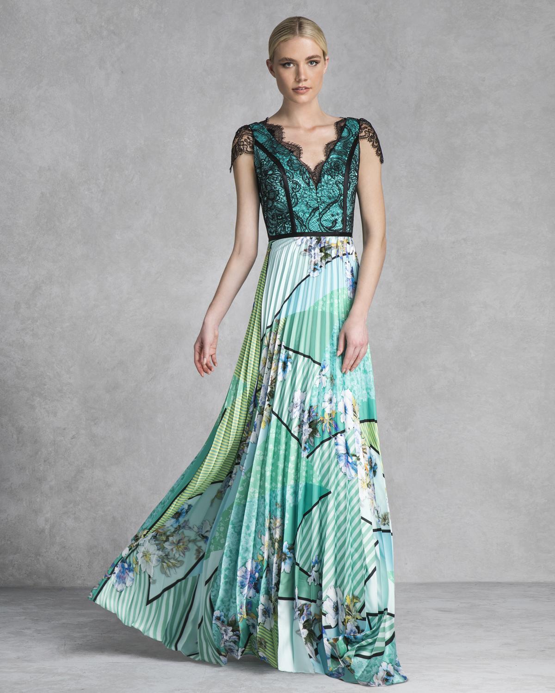 39a1badeb0 Κοκτέιλ Φορέματα   Φόρεμα κοκτέιλ πλισέ με εμπριμέ φούστα και δαντελένιο τοπ  ...
