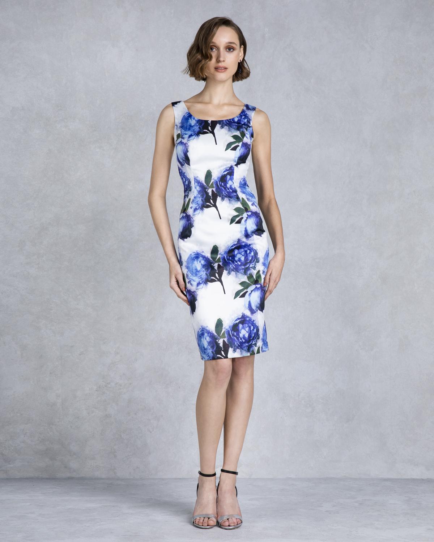 119782724844 ... Κλασικά Φορέματα   Κλασικό φόρεμα κοντό εμπριμέ με μονόχρωμο μπολερό