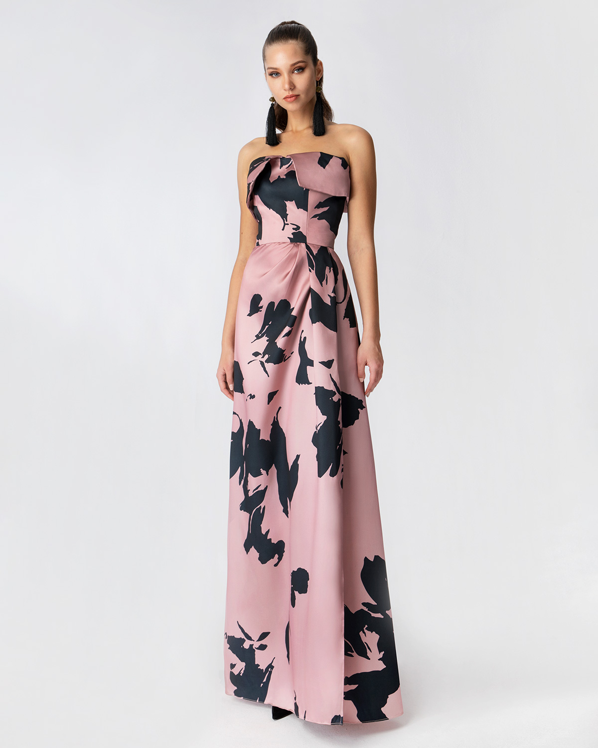 Cocktail Dresses / Long printed strapless dress
