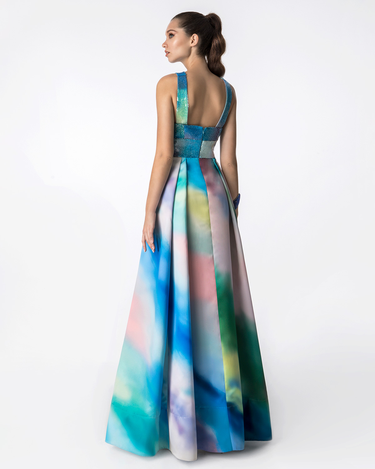 Cocktail Dresses / Long printed satin dress with top of printed sequence