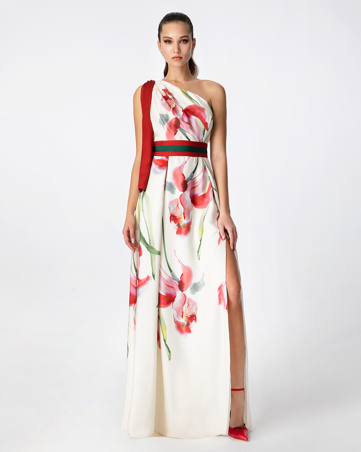 Cocktail Dresses / One shoulder cocktail printed satin dress