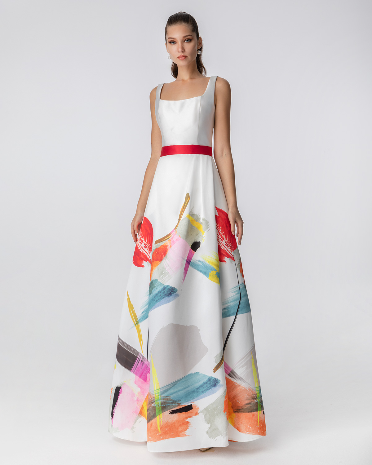 Long cocktail printed dress