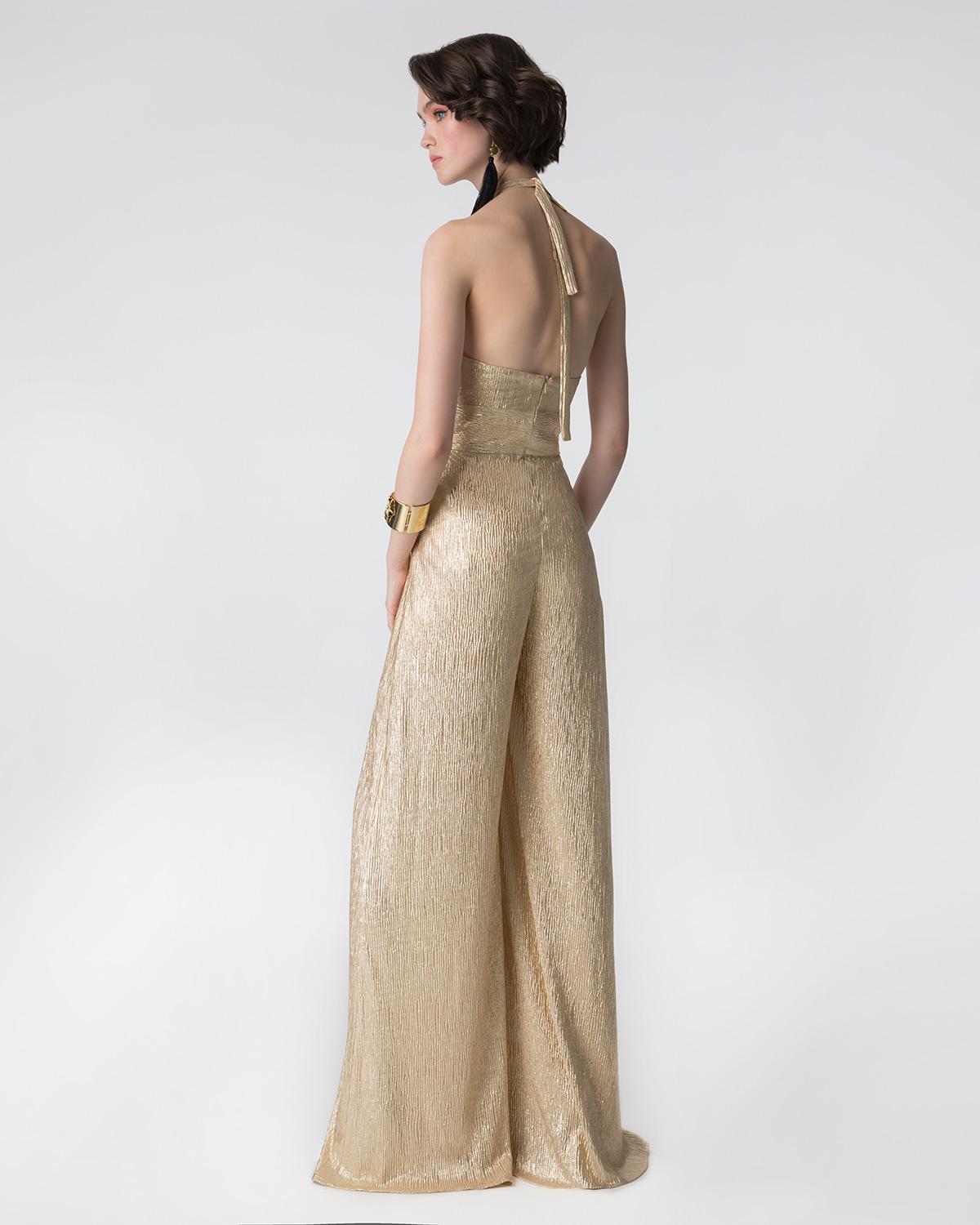 Cocktail Dresses / Cocktail lurex jumpsuit with open back