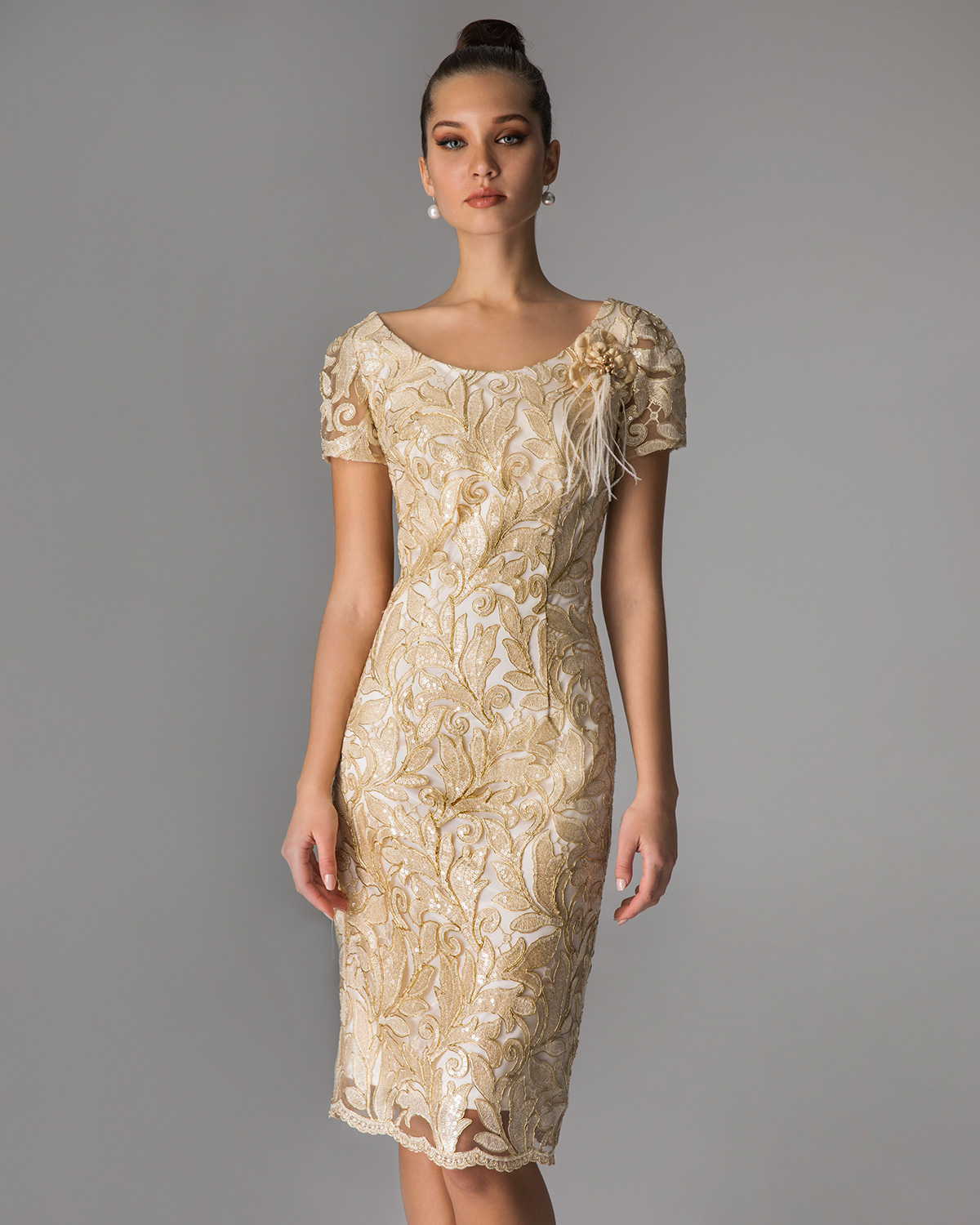 Classic Dresses / Short lace dress for mother of the bride  with short sleeves