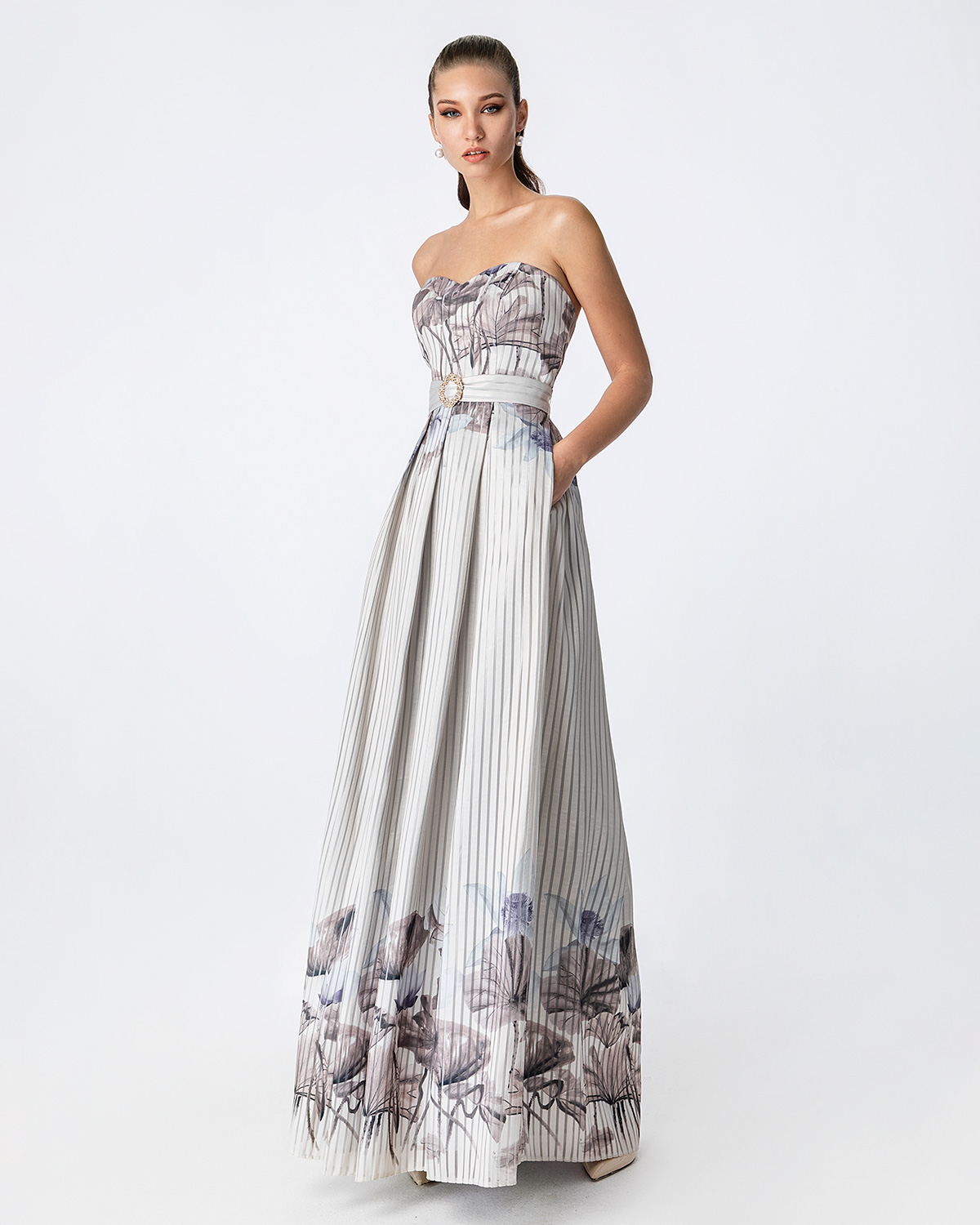 Cocktail Dresses / Long cocktail printed dress with belt