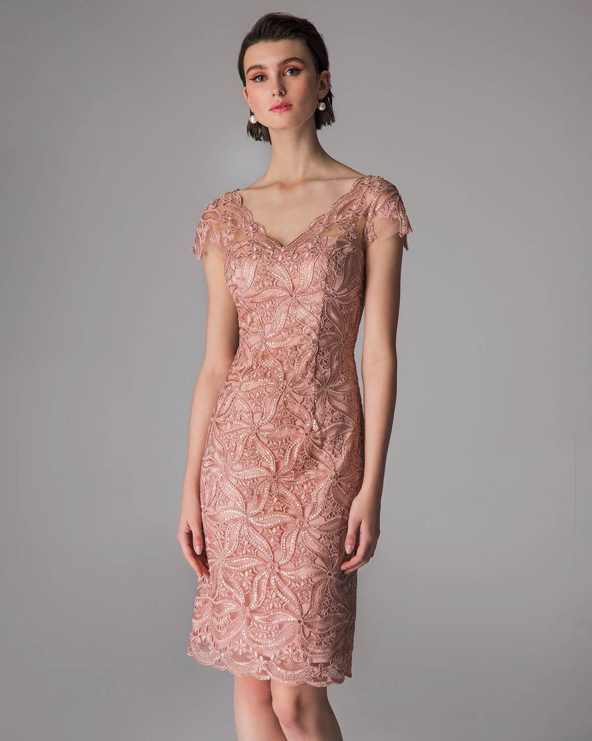 Classic Dresses / Short evening lace dress with short sleeves