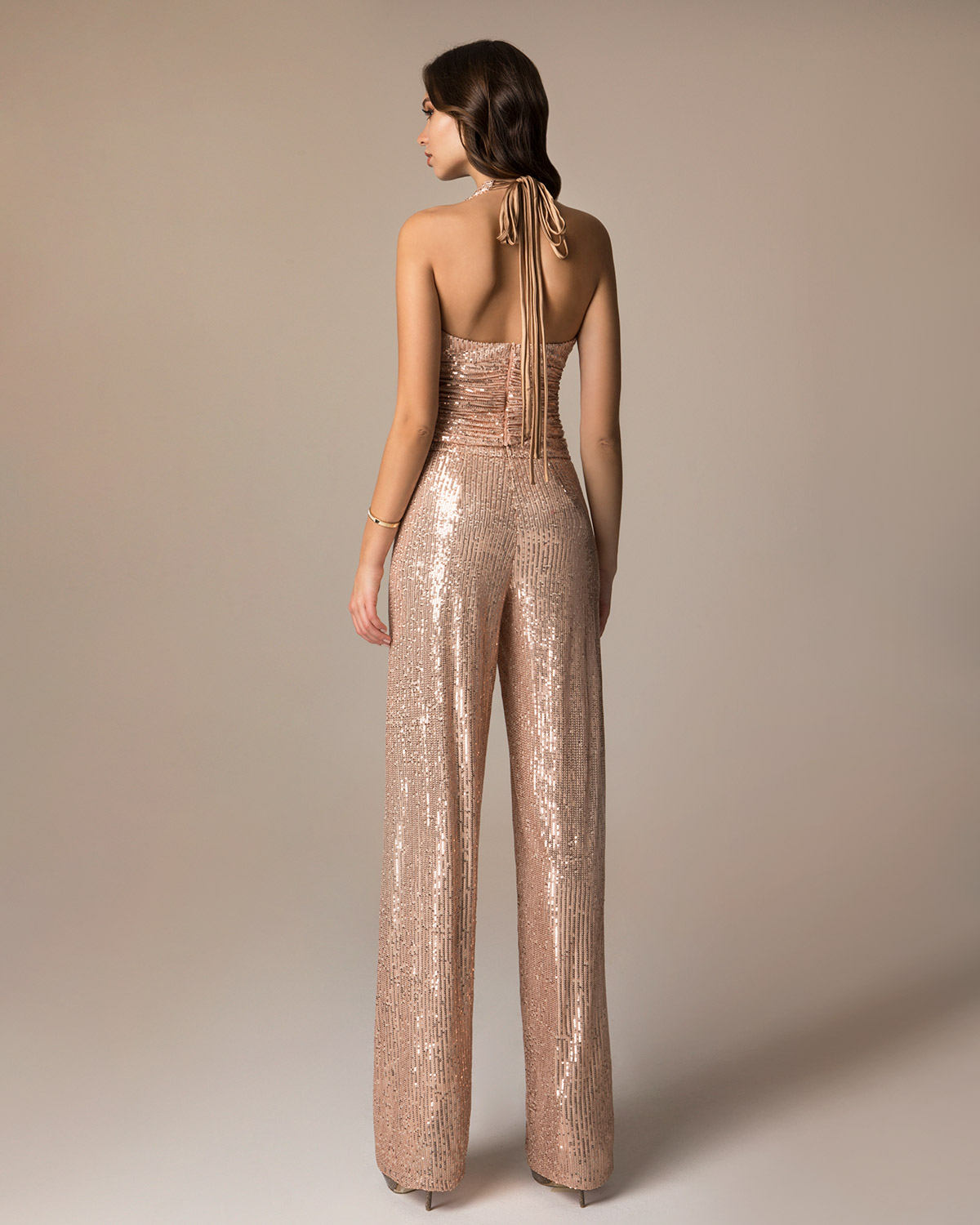 Evening Dresses / Evening trouser of sequence with top and open back