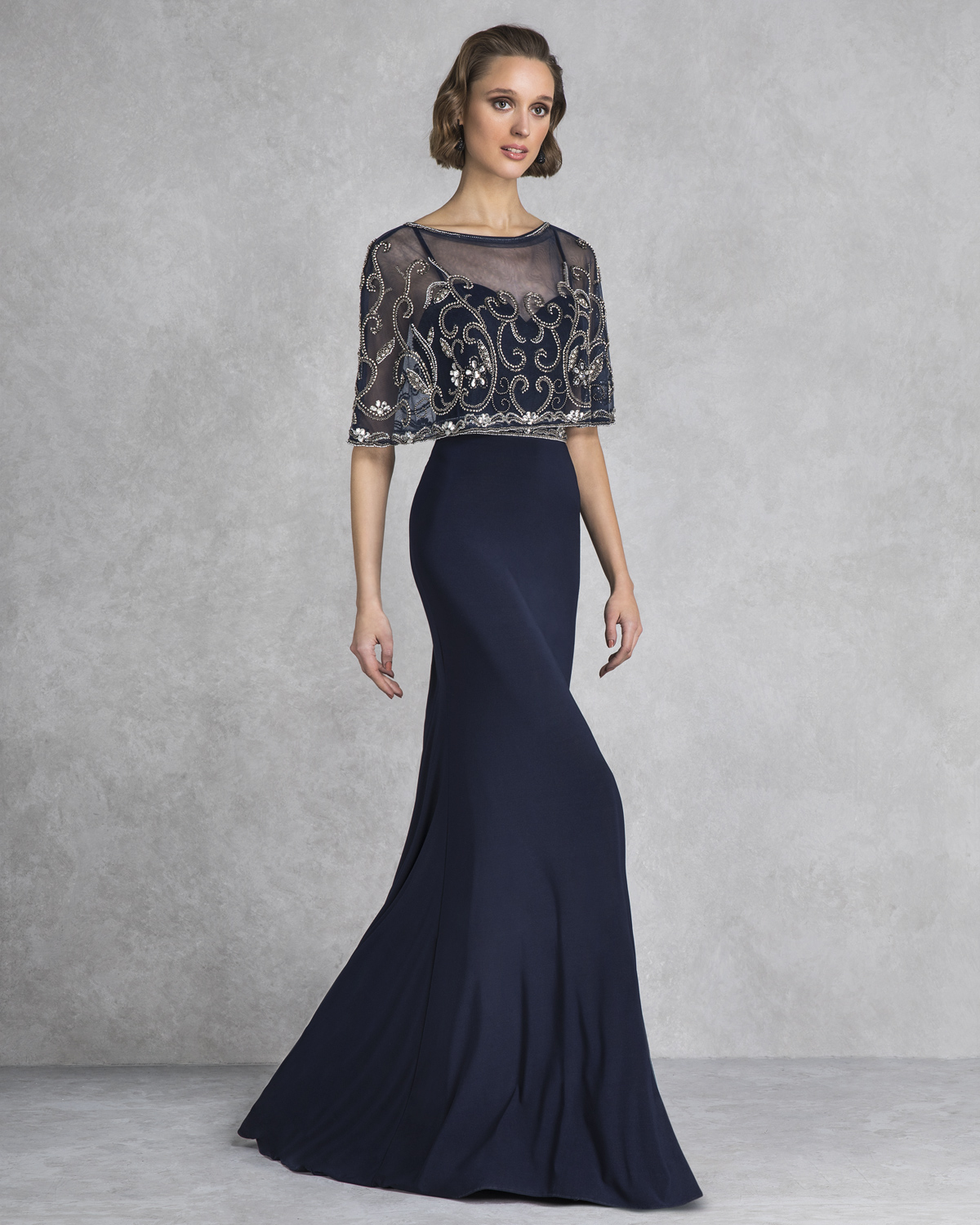 Classic Dresses / Long evening dress with beaded bolero