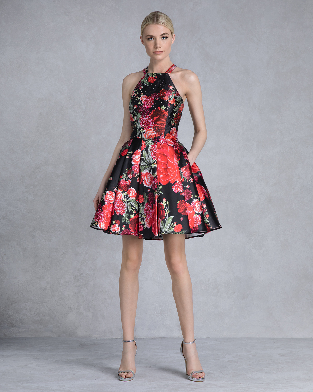 Cocktail short printed dress