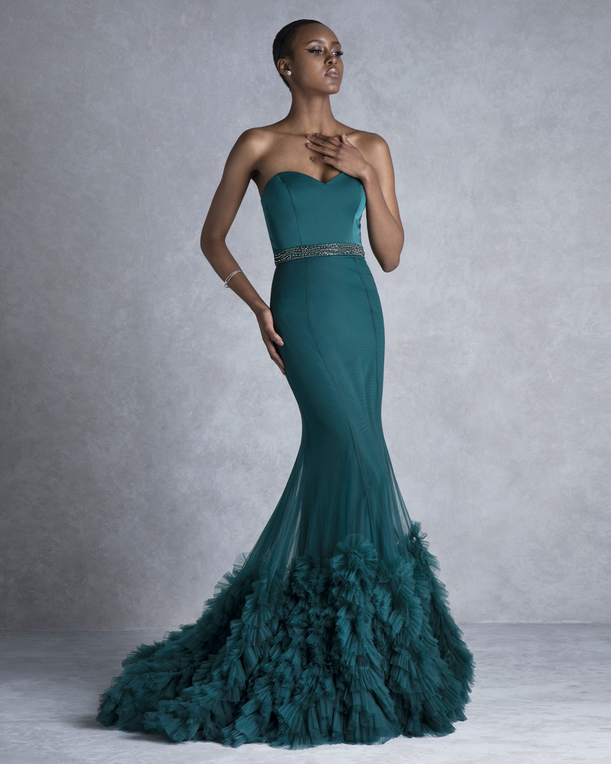 Evening Dresses / Long evening strapless with beaded belt and ruffles at hem
